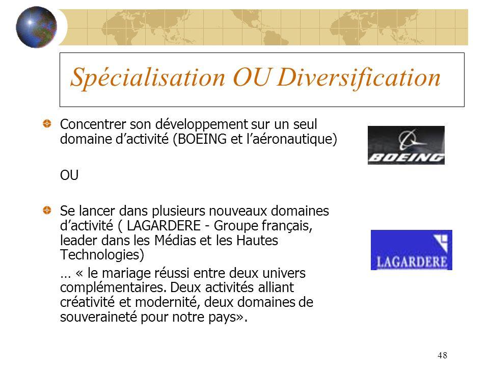 48 Spécialisation OU Diversification Concentrer son développement sur un seul domaine dactivité (BOEING et laéronautique) OU Se lancer dans plusieurs