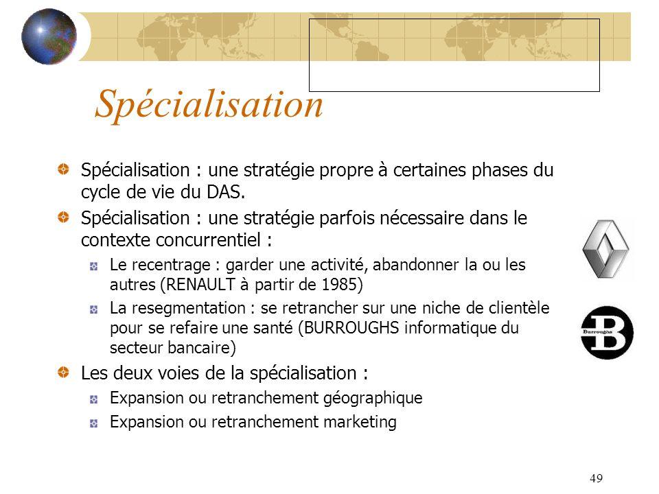 49 Spécialisation Spécialisation : une stratégie propre à certaines phases du cycle de vie du DAS. Spécialisation : une stratégie parfois nécessaire d