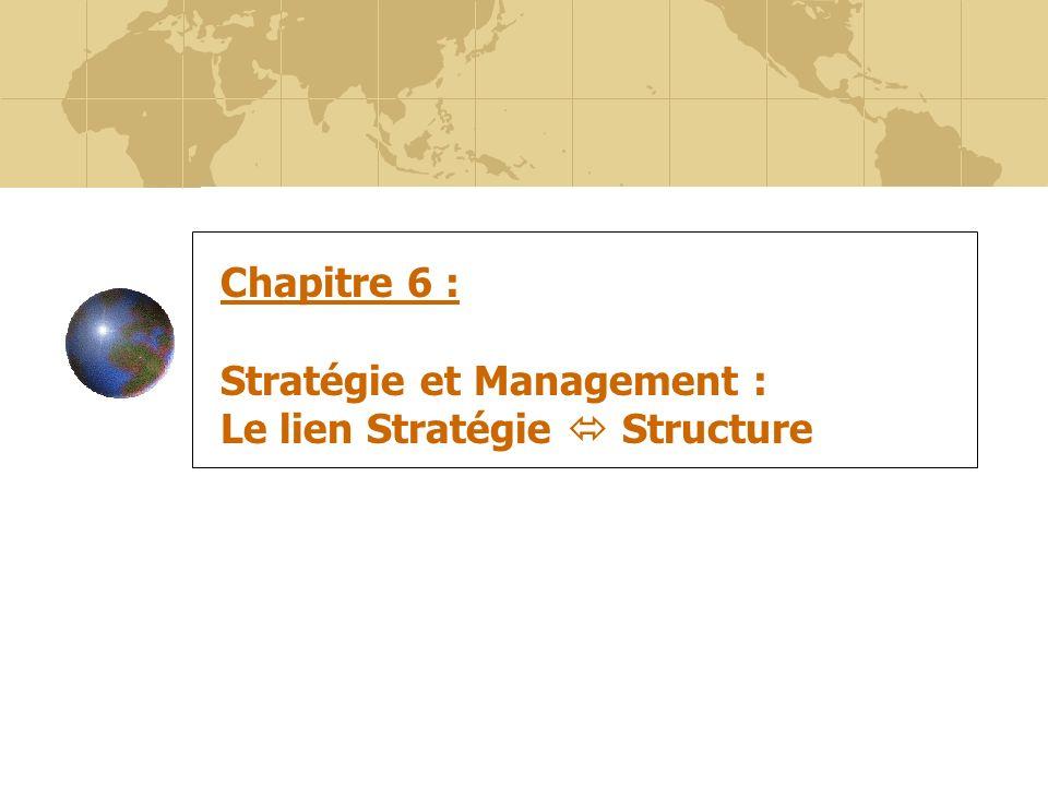 57 Chapitre 6 : Stratégie et Management : Le lien Stratégie Structure