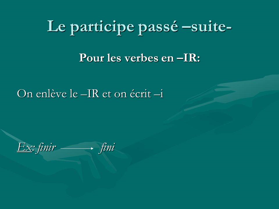 Le participe passé –suite- Pour les verbes en –IR: On enlève le –IR et on écrit –i Ex: finir fini