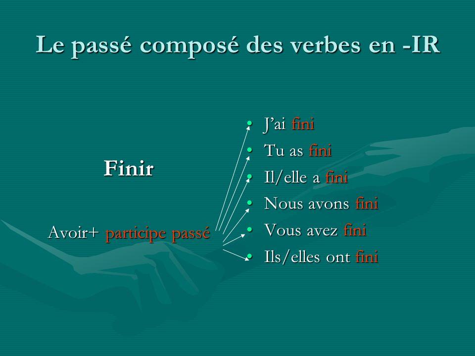Le passé composé des verbes en -IR Finir Avoir+ participe passé Jai fini Tu as fini Il/elle a fini Nous avons fini Vous avez fini Ils/elles ont fini