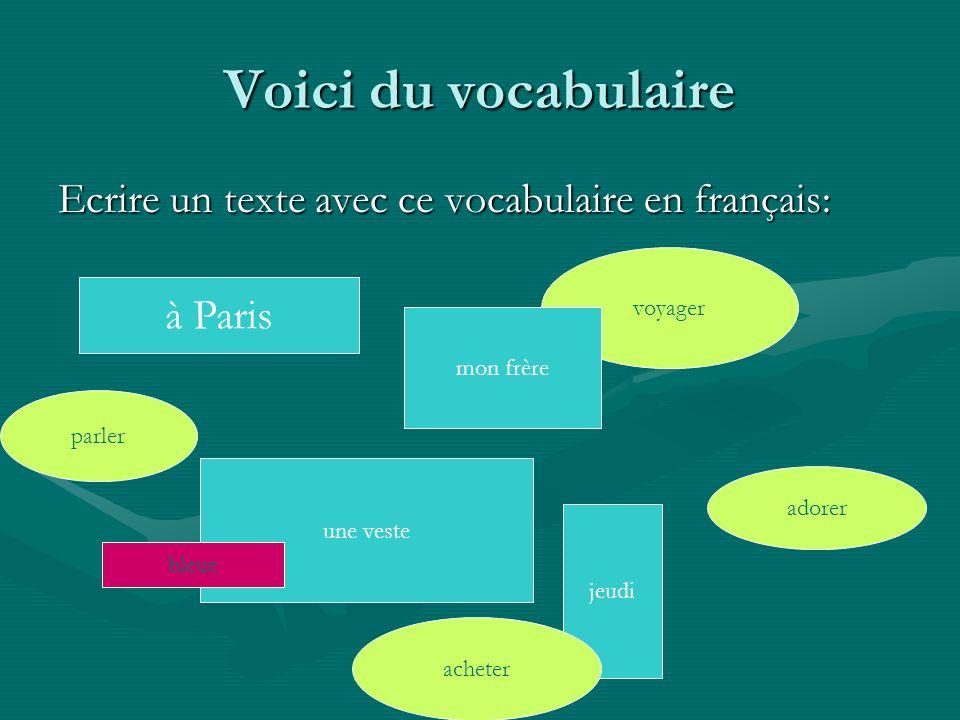 Voici du vocabulaire Ecrire un texte avec ce vocabulaire en français: à Paris parler voyager mon frère adorer jeudi acheter une veste bleue
