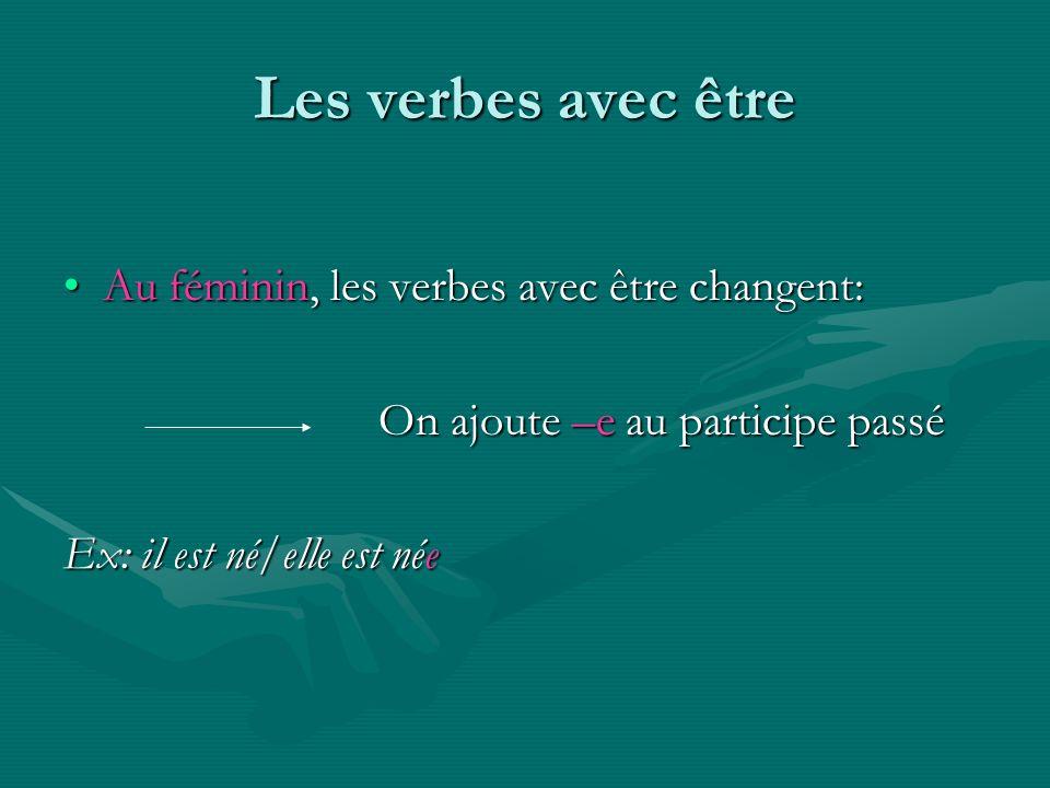 Les verbes avec être Au féminin, les verbes avec être changent:Au féminin, les verbes avec être changent: On ajoute –e au participe passé Ex: il est n