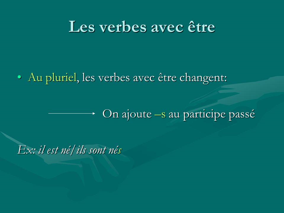 Les verbes avec être Au pluriel, les verbes avec être changent:Au pluriel, les verbes avec être changent: On ajoute –s au participe passé Ex: il est n