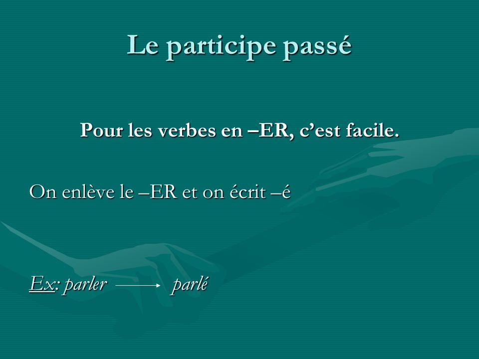 Le participe passé Pour les verbes en –ER, cest facile. On enlève le –ER et on écrit –é Ex: parler parlé