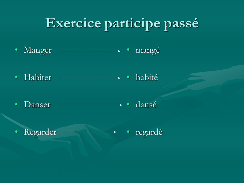Exercice participe passé MangerManger HabiterHabiter DanserDanser RegarderRegarder mangé habité dansé regardé