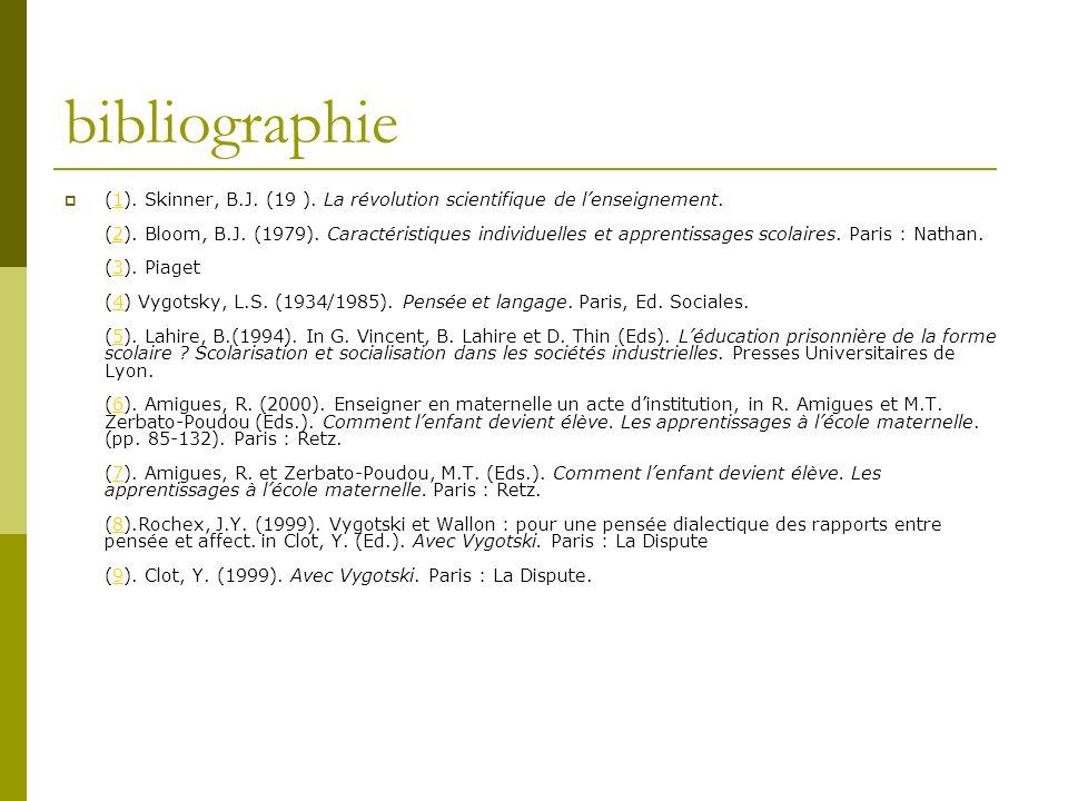 bibliographie (1). Skinner, B.J. (19 ). La révolution scientifique de lenseignement. (2). Bloom, B.J. (1979). Caractéristiques individuelles et appren