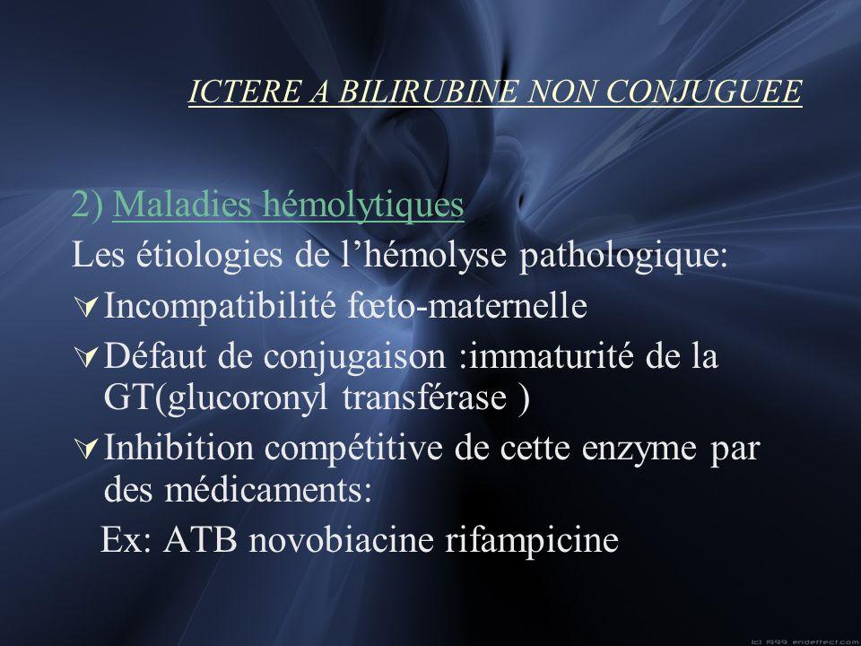 ICTERE A BILIRUBINE NON CONJUGUEE 2) Maladies hémolytiques Les étiologies de lhémolyse pathologique: Incompatibilité fœto-maternelle Défaut de conjuga