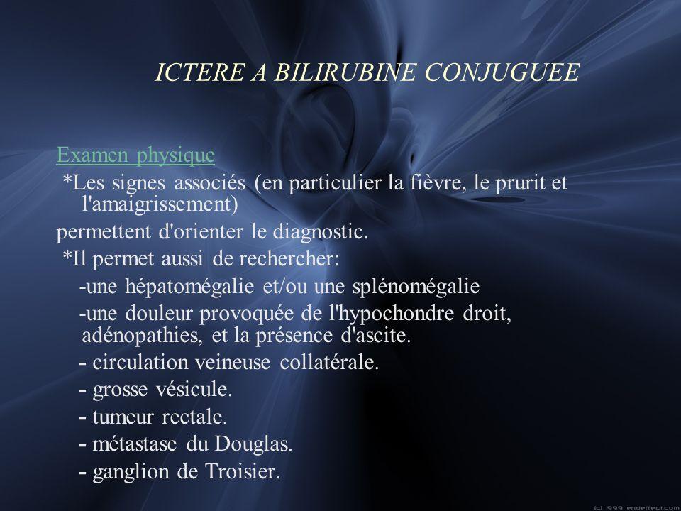 ICTERE A BILIRUBINE CONJUGUEE Examen physique *Les signes associés (en particulier la fièvre, le prurit et l'amaigrissement) permettent d'orienter le