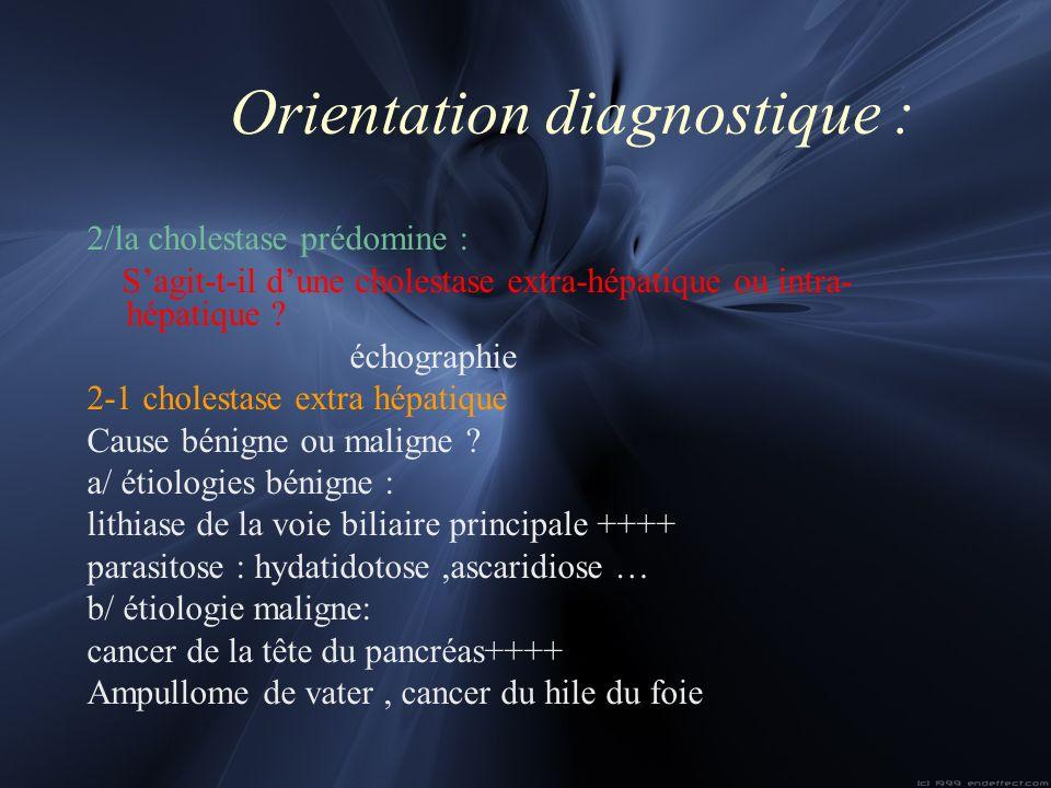 Orientation diagnostique : 2/la cholestase prédomine : Sagit-t-il dune cholestase extra-hépatique ou intra- hépatique ? échographie 2-1 cholestase ext