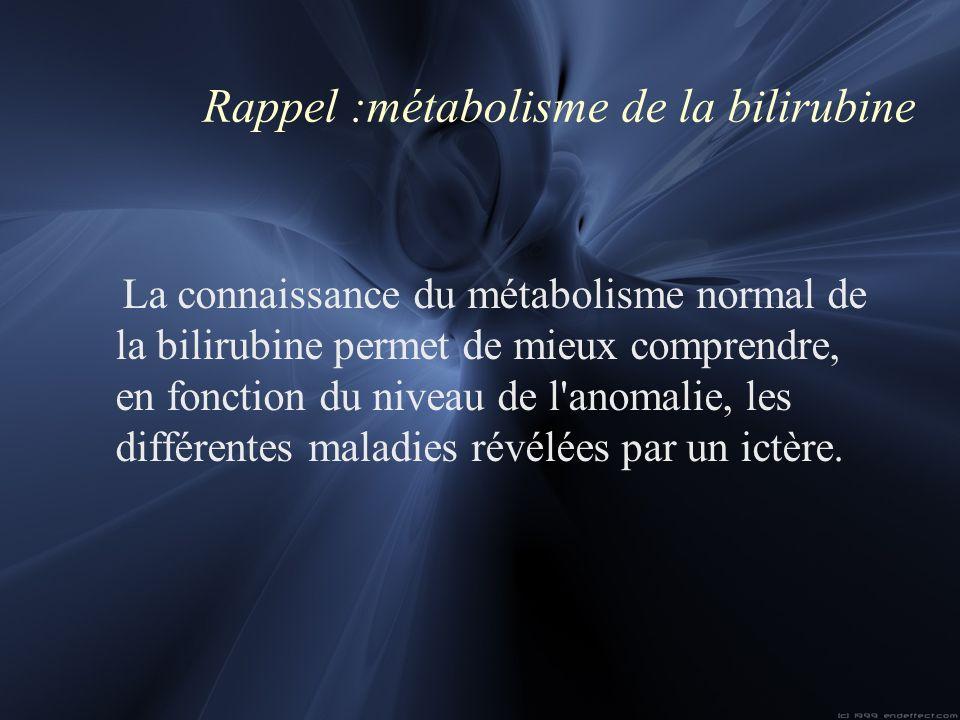 Rappel :métabolisme de la bilirubine La connaissance du métabolisme normal de la bilirubine permet de mieux comprendre, en fonction du niveau de l'ano