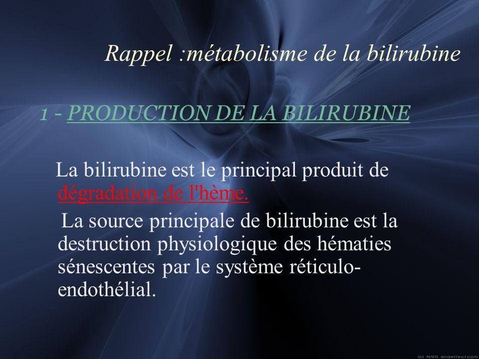 Rappel :métabolisme de la bilirubine 1 - PRODUCTION DE LA BILIRUBINE La bilirubine est le principal produit de dégradation de l'hème. La source princi