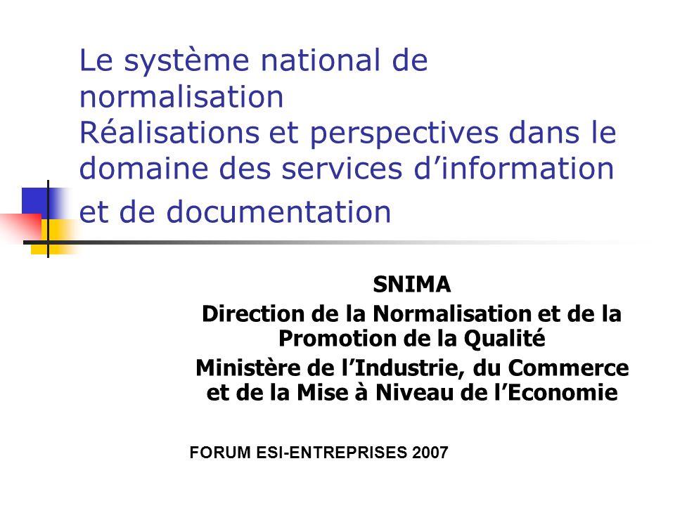 Le système national de normalisation Réalisations et perspectives dans le domaine des services dinformation et de documentation SNIMA Direction de la