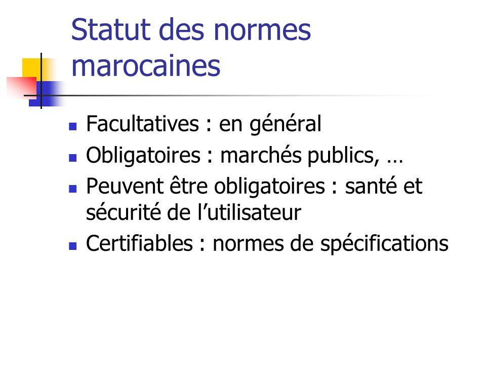 Statut des normes marocaines Facultatives : en général Obligatoires : marchés publics, … Peuvent être obligatoires : santé et sécurité de lutilisateur