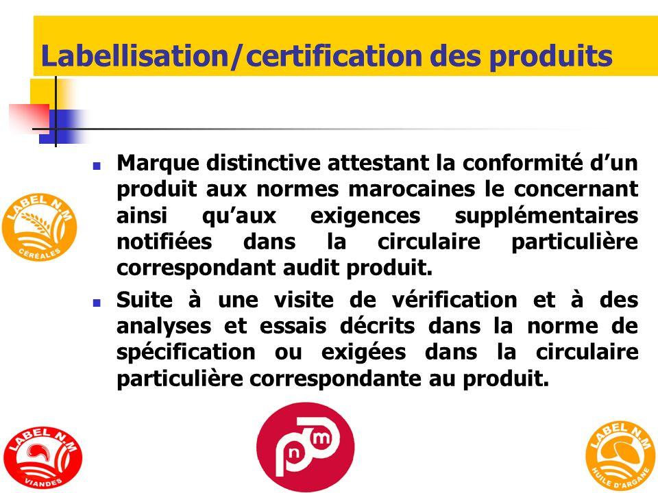 Labellisation/certification des produits Marque distinctive attestant la conformité dun produit aux normes marocaines le concernant ainsi quaux exigen