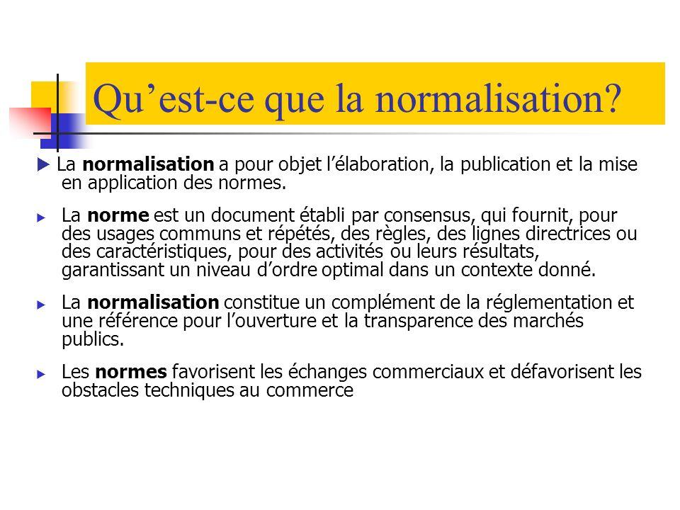 Normalisation au Maroc en bref Genèse : Depuis 1970 suite à la promulgation des textes législatifs régissant cette activité Principaux acteurs : Le Conseil Supérieur Interministériel de la Qualité et de la Productivité (CSIQP) Service de Normalisation Industrielle Marocaine (SNIMA) les Comités Techniques de Normalisation (CTNs) Bases de travail régissant cette activité : Transparence Recherche du consensus Célérité, impartialité et ouverture