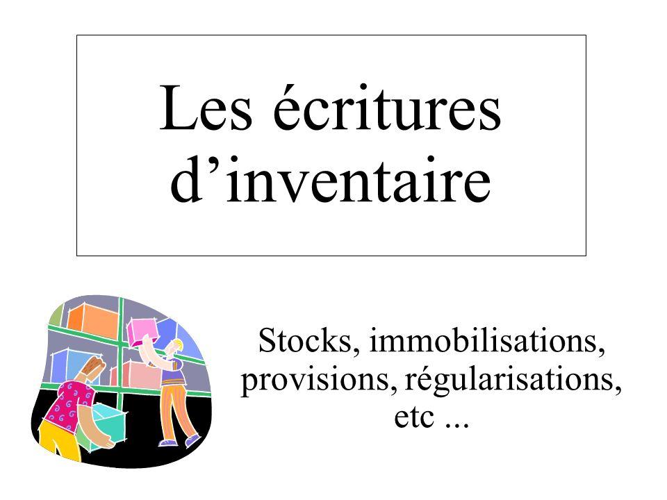 Les écritures dinventaire Stocks, immobilisations, provisions, régularisations, etc...