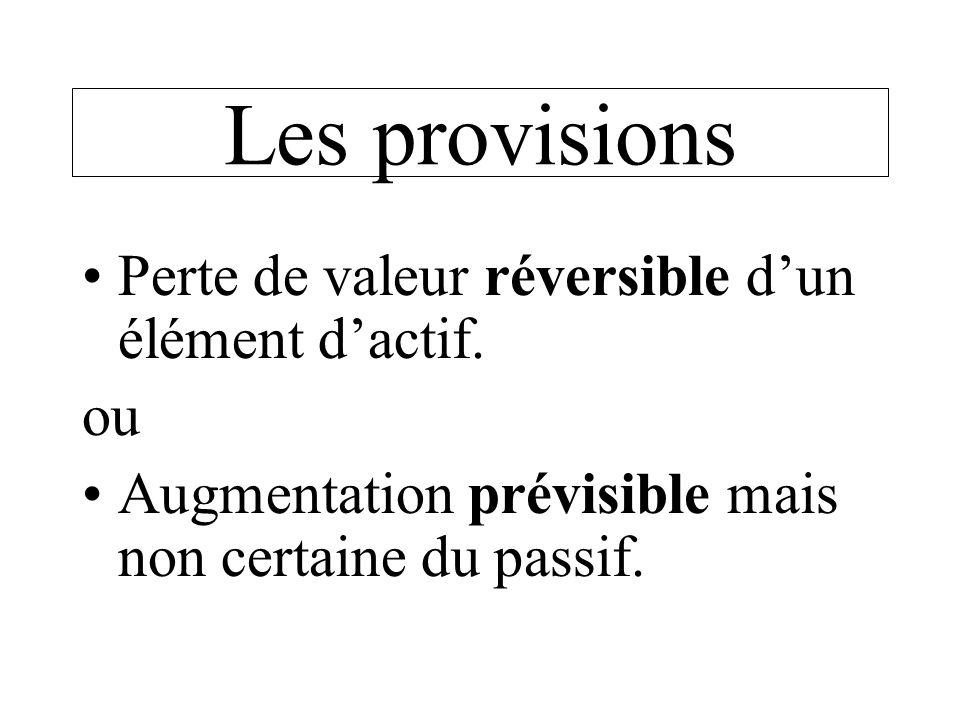 Les provisions Perte de valeur réversible dun élément dactif. ou Augmentation prévisible mais non certaine du passif.