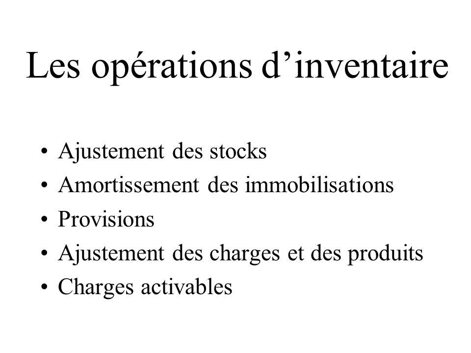 Les opérations dinventaire Ajustement des stocks Amortissement des immobilisations Provisions Ajustement des charges et des produits Charges activable