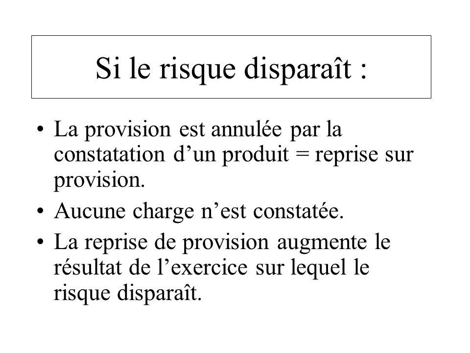 Si le risque disparaît : La provision est annulée par la constatation dun produit = reprise sur provision. Aucune charge nest constatée. La reprise de
