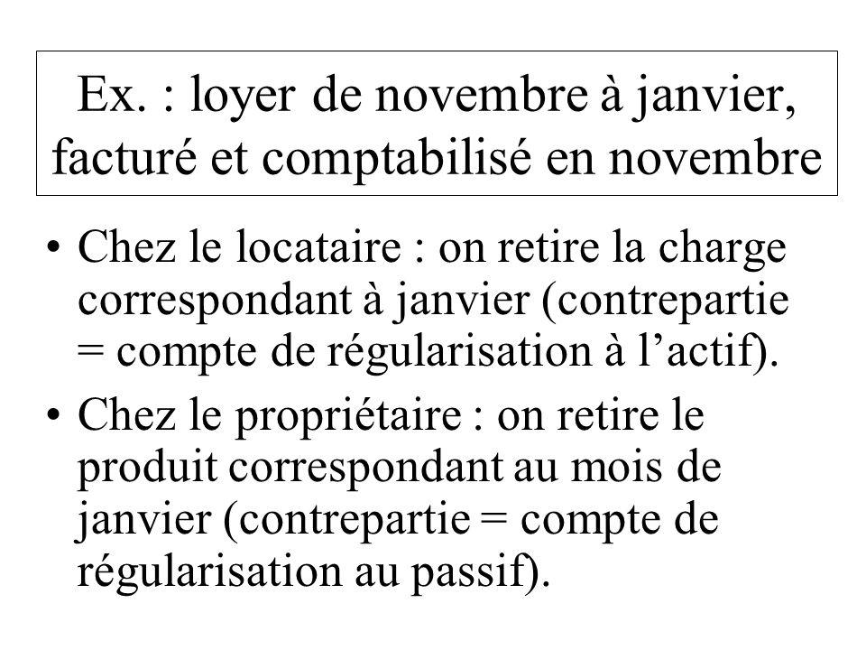 Ex. : loyer de novembre à janvier, facturé et comptabilisé en novembre Chez le locataire : on retire la charge correspondant à janvier (contrepartie =