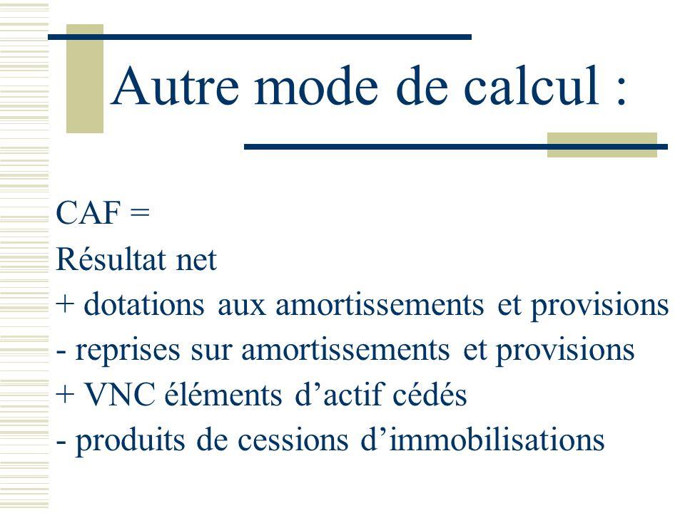 Autre mode de calcul : CAF = Résultat net + dotations aux amortissements et provisions - reprises sur amortissements et provisions + VNC éléments dact
