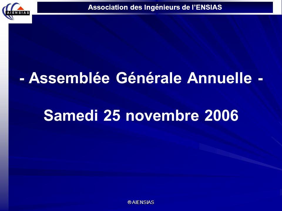 Association des Ingénieurs de lENSIAS ® AIENSIAS - Assemblée Générale Annuelle - Samedi 25 novembre 2006