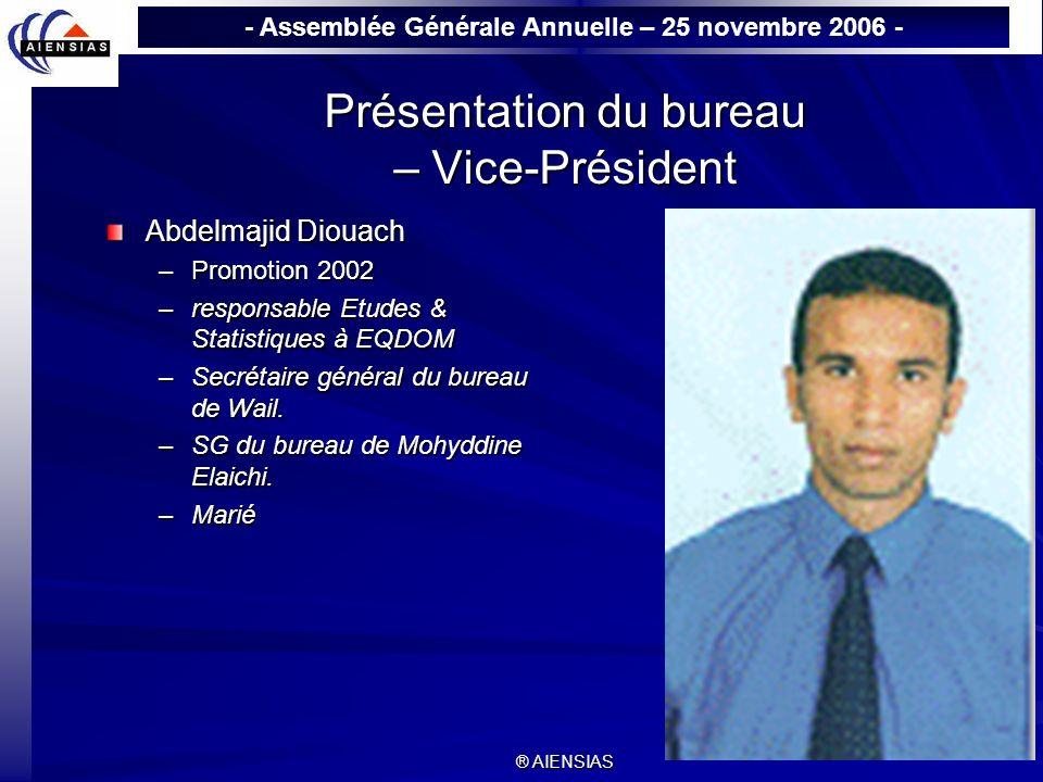 - Assemblée Générale Annuelle – 25 novembre 2006 - ® AIENSIAS Présentation du bureau – Vice-Président Abdelmajid Diouach –Promotion 2002 –responsable