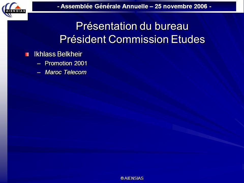 - Assemblée Générale Annuelle – 25 novembre 2006 - ® AIENSIAS Présentation du bureau Président Commission Etudes Ikhlass Belkheir –Promotion 2001 –Mar