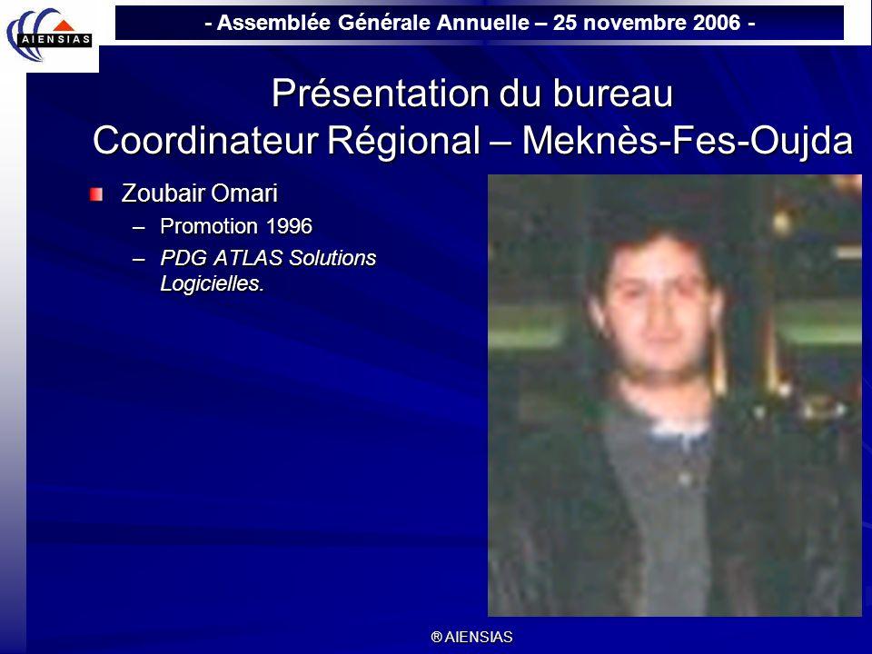 - Assemblée Générale Annuelle – 25 novembre 2006 - ® AIENSIAS Présentation du bureau Coordinateur Régional – Meknès-Fes-Oujda Zoubair Omari –Promotion