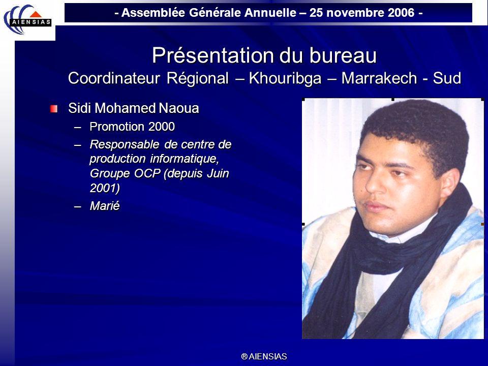 - Assemblée Générale Annuelle – 25 novembre 2006 - ® AIENSIAS Présentation du bureau Coordinateur Régional – Khouribga – Marrakech - Sud Sidi Mohamed