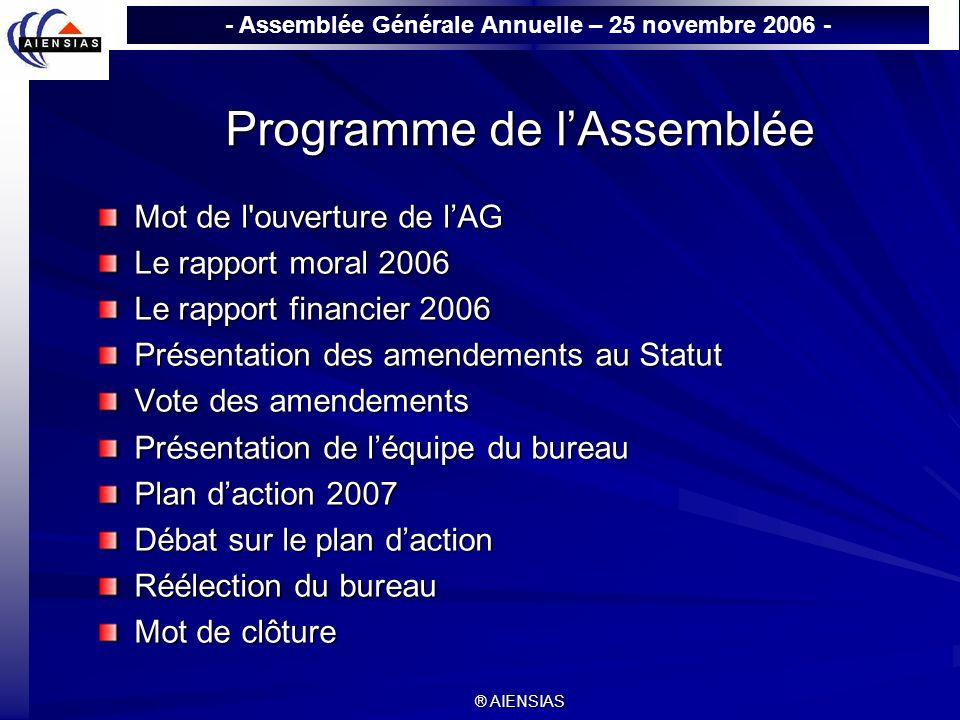 - Assemblée Générale Annuelle – 25 novembre 2006 - ® AIENSIAS Programme de lAssemblée Mot de l'ouverture de lAG Mot de l'ouverture de lAG Le rapport m