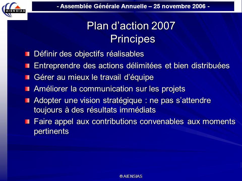 - Assemblée Générale Annuelle – 25 novembre 2006 - ® AIENSIAS Plan daction 2007 Principes Définir des objectifs réalisables Entreprendre des actions d