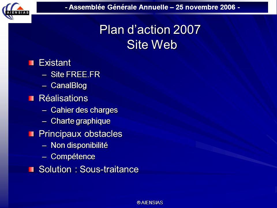 - Assemblée Générale Annuelle – 25 novembre 2006 - ® AIENSIAS Plan daction 2007 Site Web Existant –Site FREE.FR –CanalBlog Réalisations –Cahier des ch