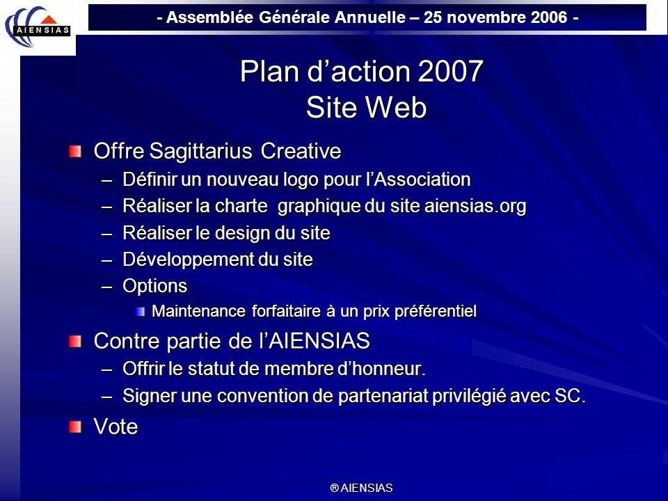 - Assemblée Générale Annuelle – 25 novembre 2006 - ® AIENSIAS Plan daction 2007 Site Web Offre Sagittarius Creative –Définir un nouveau logo pour lAss