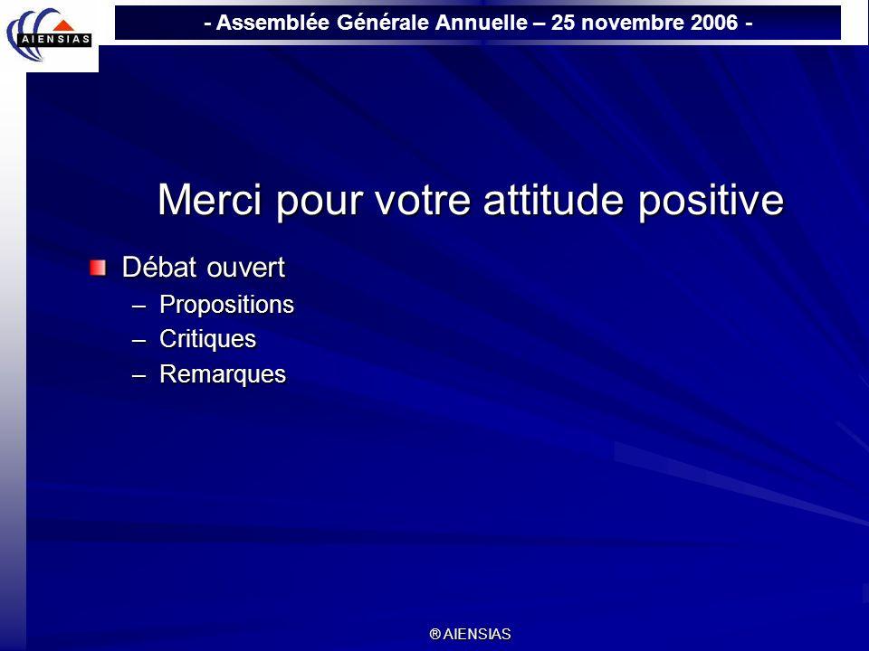 - Assemblée Générale Annuelle – 25 novembre 2006 - ® AIENSIAS Merci pour votre attitude positive Débat ouvert –Propositions –Critiques –Remarques