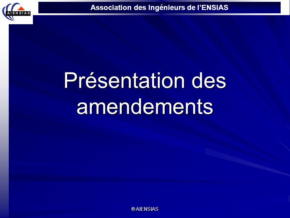 Association des Ingénieurs de lENSIAS ® AIENSIAS Présentation des amendements