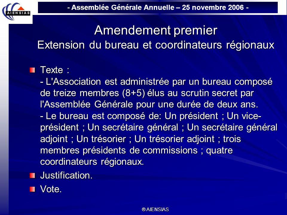 - Assemblée Générale Annuelle – 25 novembre 2006 - ® AIENSIAS Amendement premier Extension du bureau et coordinateurs régionaux Texte : - L'Associatio