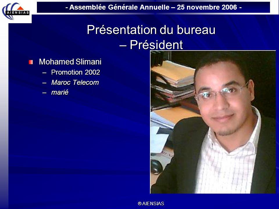- Assemblée Générale Annuelle – 25 novembre 2006 - ® AIENSIAS Présentation du bureau – Vice-Président Abdelmajid Diouach –Promotion 2002 –responsable Etudes & Statistiques à EQDOM –Secrétaire général du bureau de Wail.