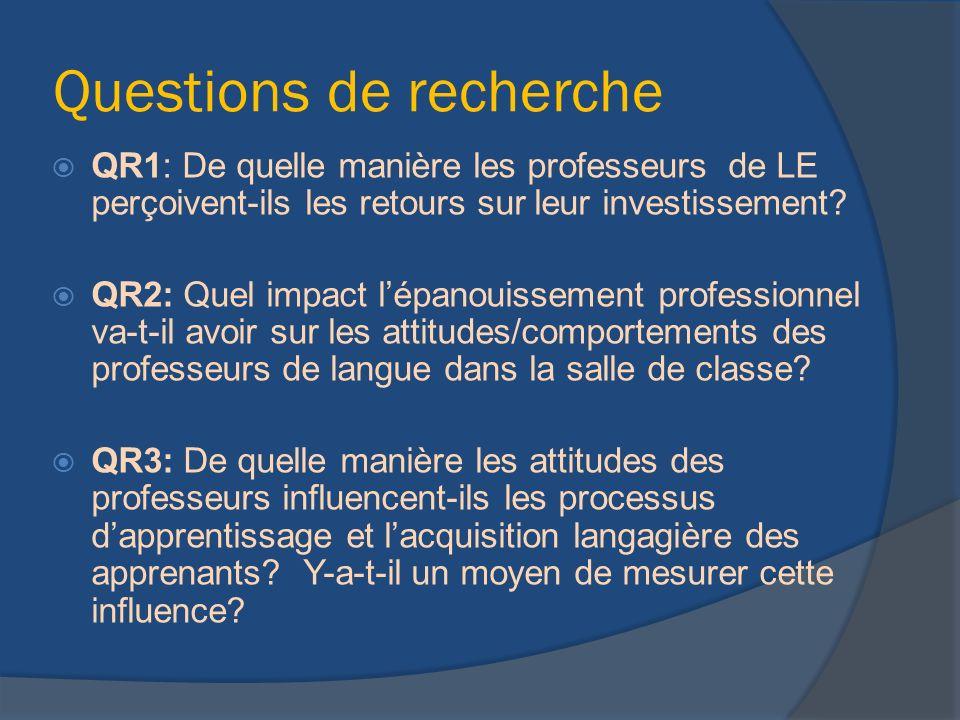 Questions de recherche QR1: De quelle manière les professeurs de LE perçoivent-ils les retours sur leur investissement? QR2: Quel impact lépanouisseme