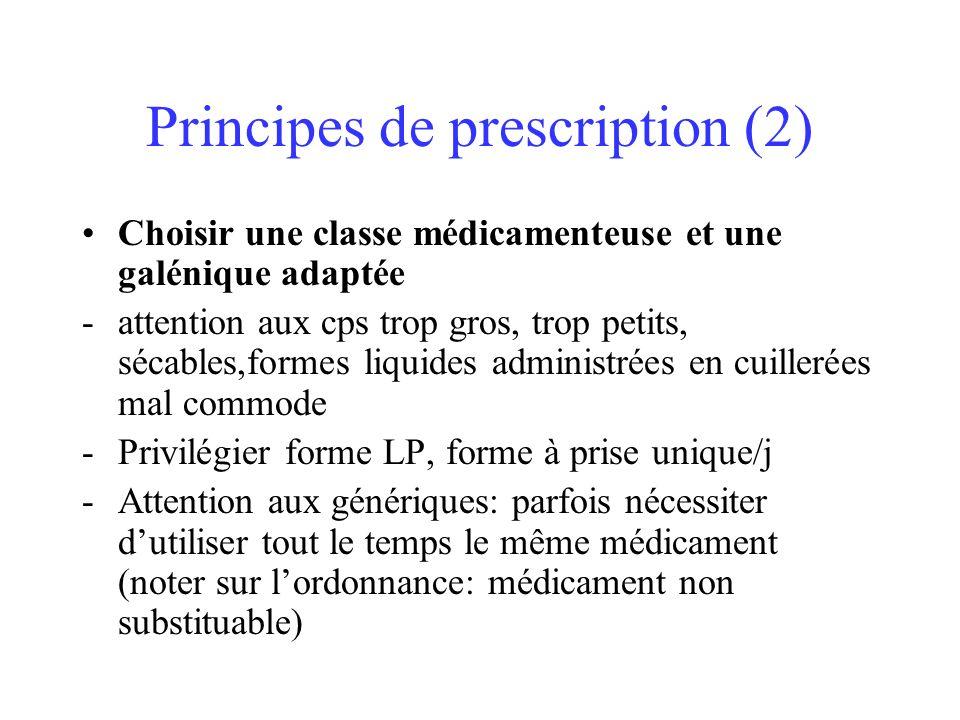 Principes de prescription (2) Choisir une classe médicamenteuse et une galénique adaptée -attention aux cps trop gros, trop petits, sécables,formes li