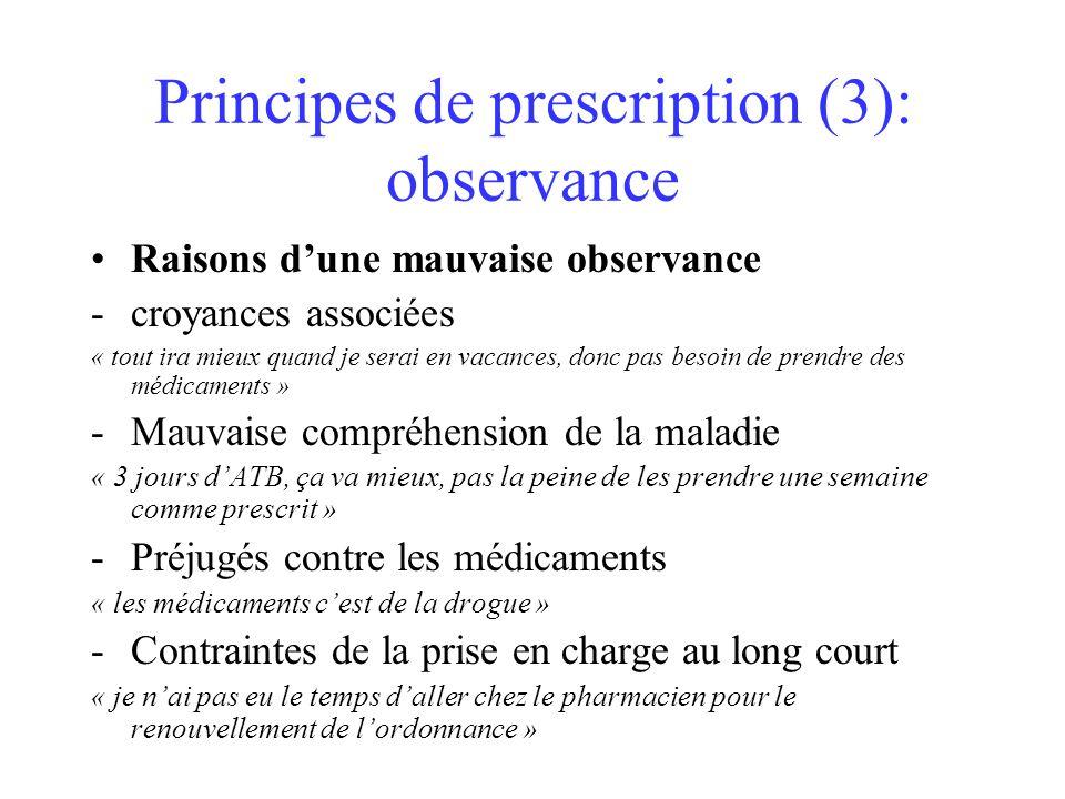 Principes de prescription (3): observance Raisons dune mauvaise observance -croyances associées « tout ira mieux quand je serai en vacances, donc pas