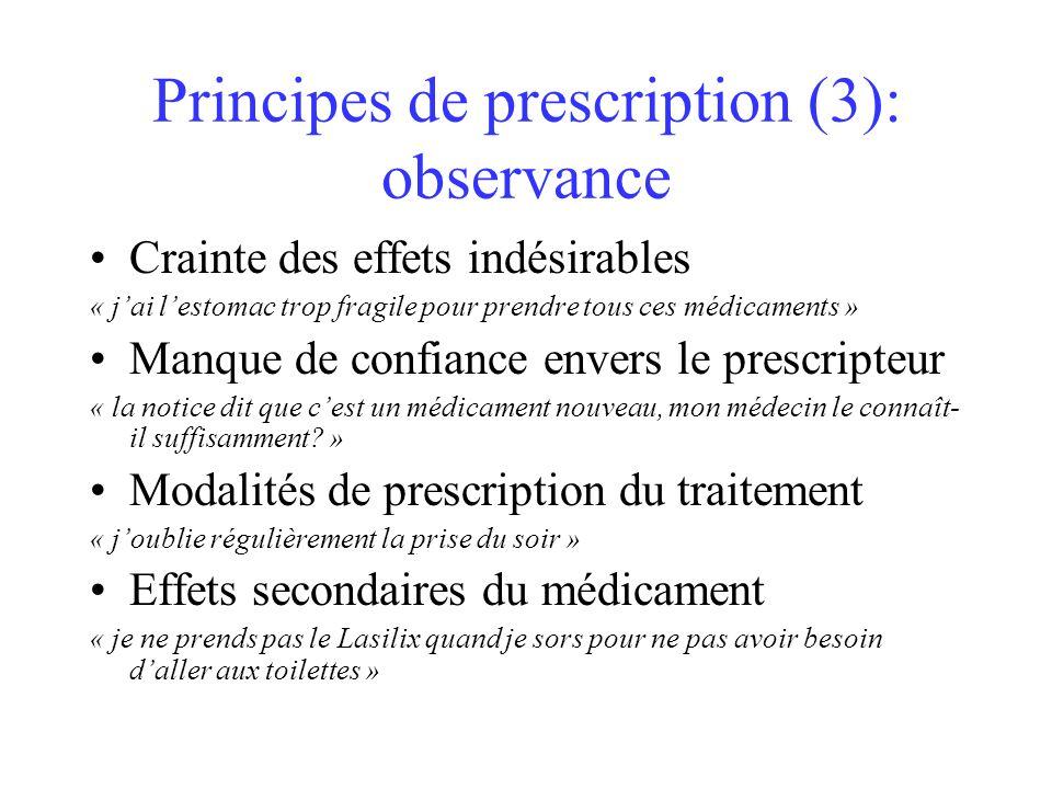 Principes de prescription (3): observance Crainte des effets indésirables « jai lestomac trop fragile pour prendre tous ces médicaments » Manque de co