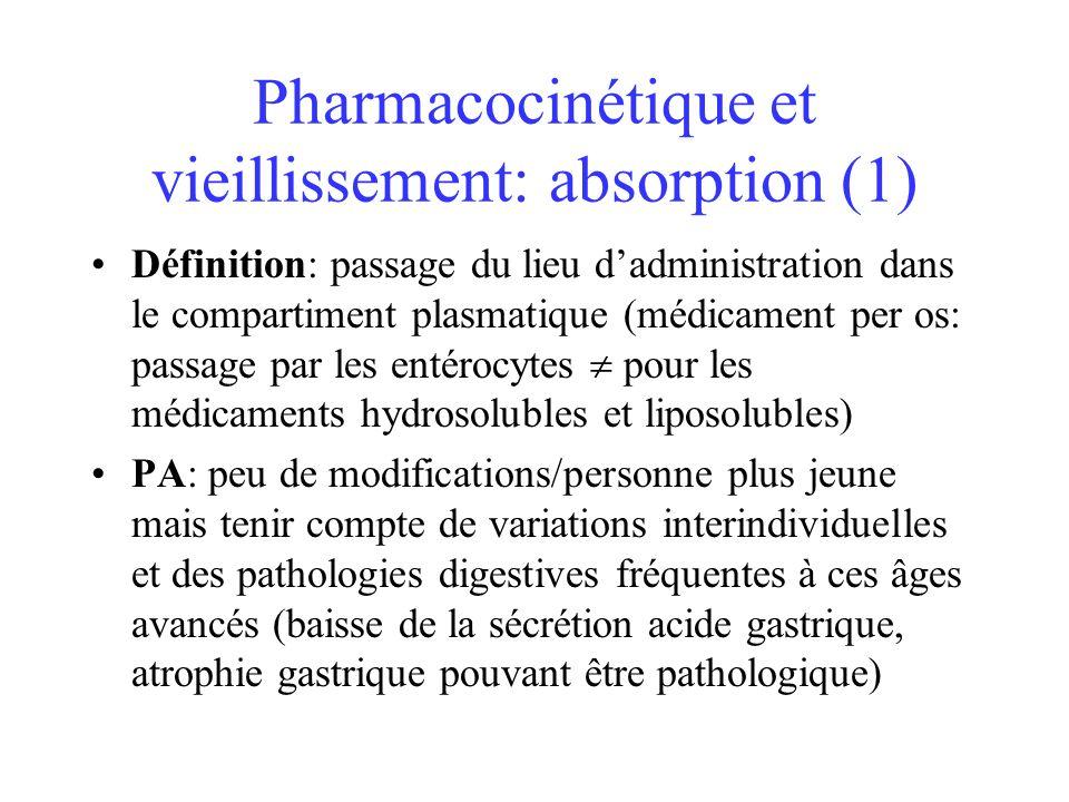 Pharmacocinétique et vieillissement: absorption (1) Définition: passage du lieu dadministration dans le compartiment plasmatique (médicament per os: p