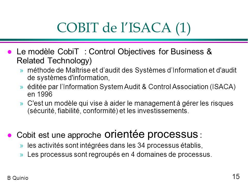 15 B Quinio COBIT de lISACA (1) l Le modèle CobiT : Control Objectives for Business & Related Technology) »méthode de Maîtrise et daudit des Systèmes