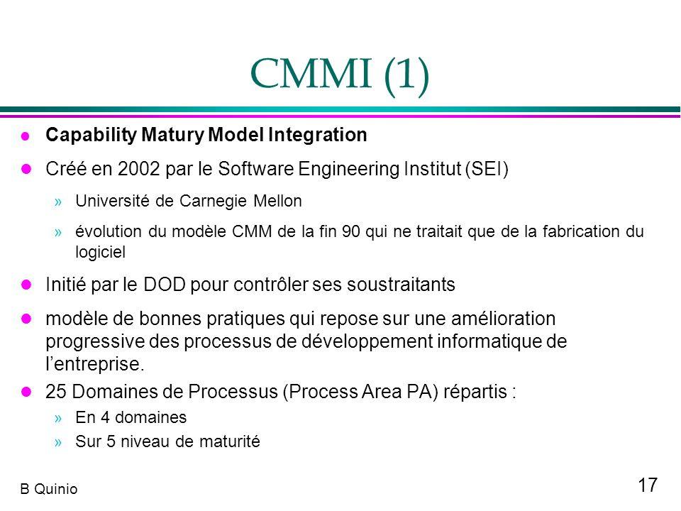 17 B Quinio CMMI (1) Capability Matury Model Integration l Créé en 2002 par le Software Engineering Institut (SEI) » Université de Carnegie Mellon » é