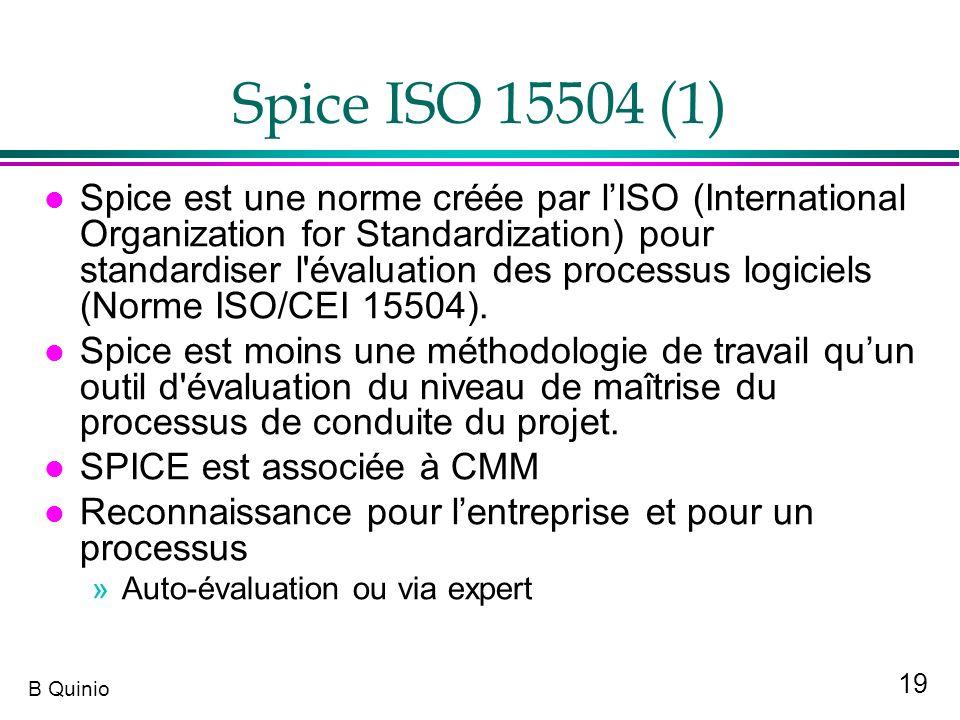 19 B Quinio Spice ISO 15504 (1) l Spice est une norme créée par lISO (International Organization for Standardization) pour standardiser l'évaluation d