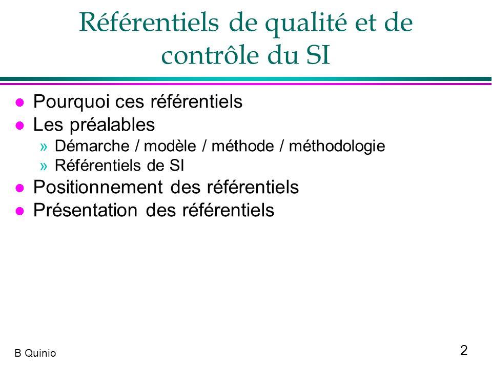2 B Quinio Référentiels de qualité et de contrôle du SI l Pourquoi ces référentiels l Les préalables »Démarche / modèle / méthode / méthodologie »Réfé