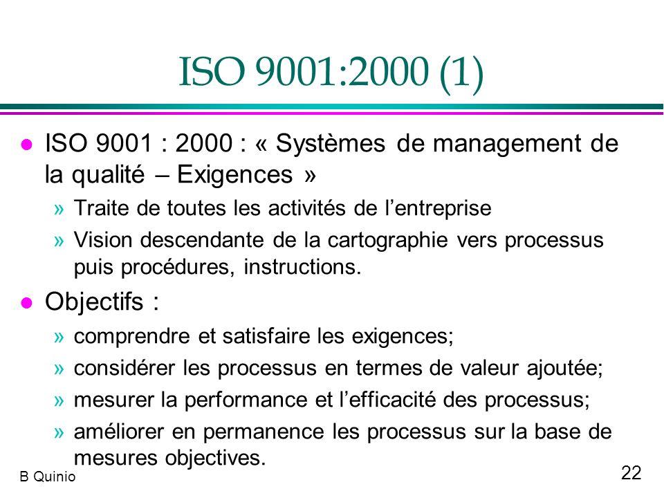 22 B Quinio ISO 9001:2000 (1) l ISO 9001 : 2000 : « Systèmes de management de la qualité – Exigences » »Traite de toutes les activités de lentreprise