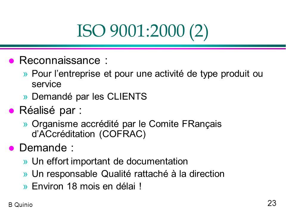 23 B Quinio ISO 9001:2000 (2) l Reconnaissance : »Pour lentreprise et pour une activité de type produit ou service »Demandé par les CLIENTS l Réalisé